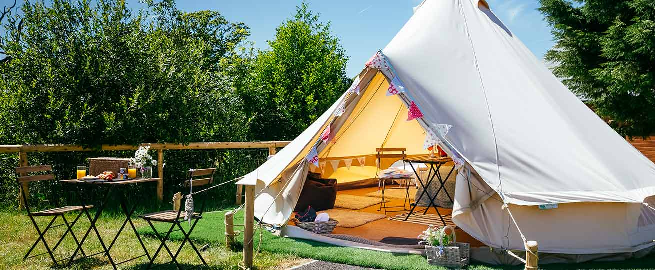 This is the glamping village at Oldwalls Gower, our South Wales wedding venue