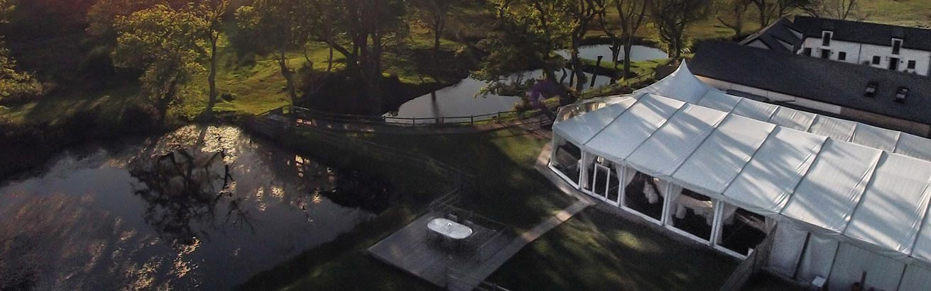 Aerial image of our south wales wedding venue and the surrounding lakes
