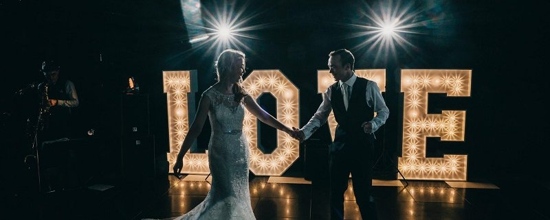 An image of a couple dancing to wedding music at wedding venue Oldwalls Gower.