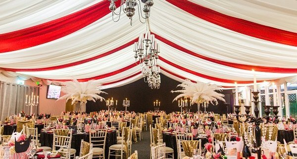 A The Greatest Showman themed dining area and tent at the Cash for Kids Ball 2018