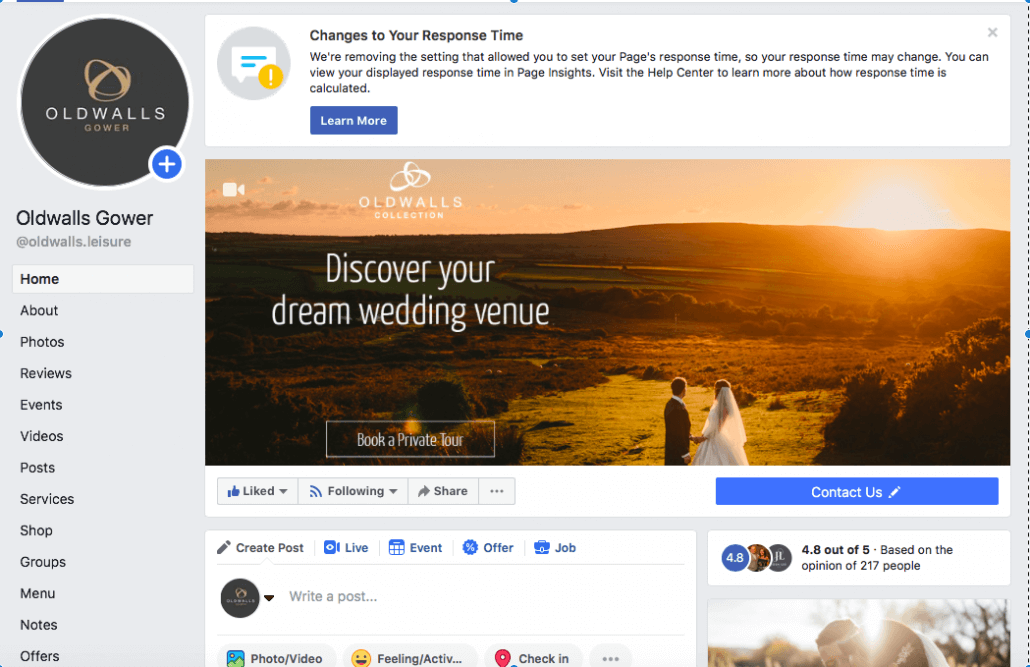 Screenshot of Oldwalls Facebook page, advising users to check out wedding venues' social platforms to get a greater insight.