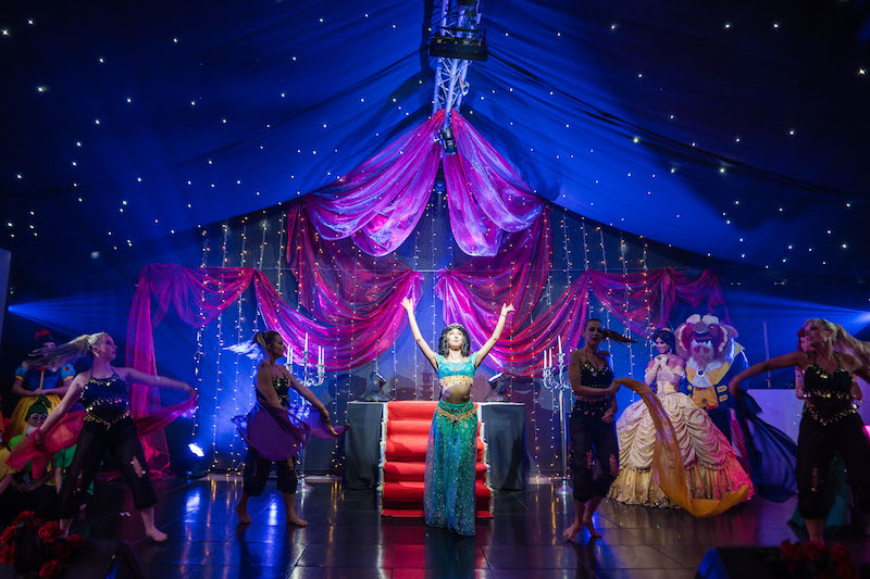 Princess Jasmine actress performing at Oldwalls venue with the rest of the fantasy Disney cast.