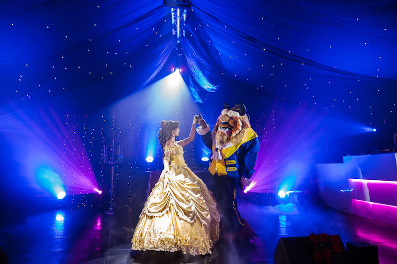 beauty and the beast actors dancing at Oldwalls south wales wedding venue